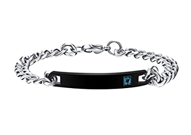 ff426d79db Personalized His and Hers Matching Couples Bracelets Set, Women's Men's  Titanium Stainless Steel Engraved Custom