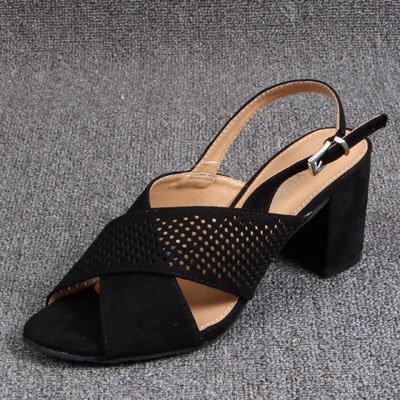 GAOLIM Cross-Expuestos Gruesas Con Sandalias [1] El Alto-Heel Shoes Sandalias De Verano Negro