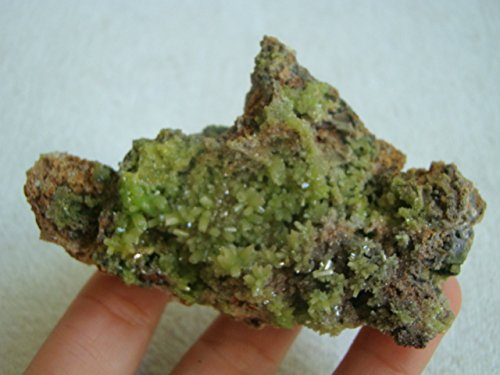 Pyromorphite Crystals (Gua4119 Green Pyromorphite Crystals Spreaded in Matrix)