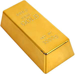Gold Bullion Door Stopper,Fake Gold Bar Paperweight Gold Doorstop Door Wedge for Home Office Decoration,Size 6.7 by 3 by 2 -inch (Hollow)