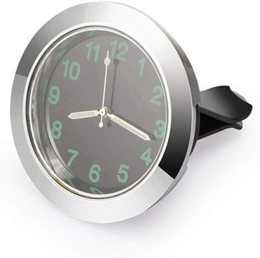 Calibre Automatique Lumineux Horloge Mini Car Air Vent Horloge /à Quartz avec Clip Automatique de Sortie dair Montre Gauge Horloge for Toutes Les Voitures Color : Silver R/éveils