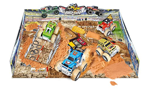 Big Wheel 4x4 Monster Truck Stunt Stadium - Includes 2 Vehicles, Molding Sand, Play Mat (38 Pcs)