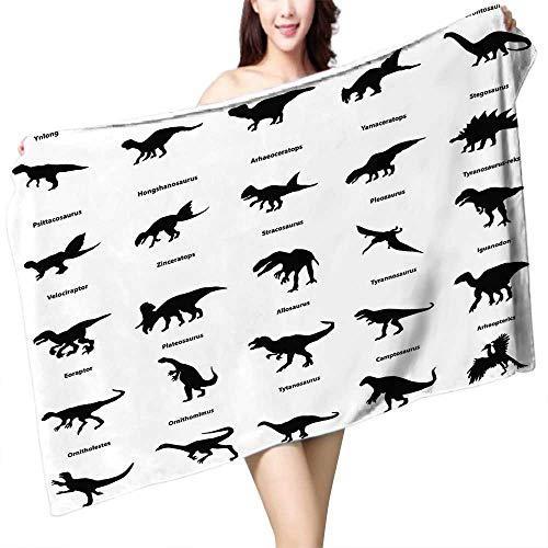UHOO2018 Bath Towel Silhouettes Dinosaur fixés avec des noms détourés sur Blanc Bathroom Towels W 27.5