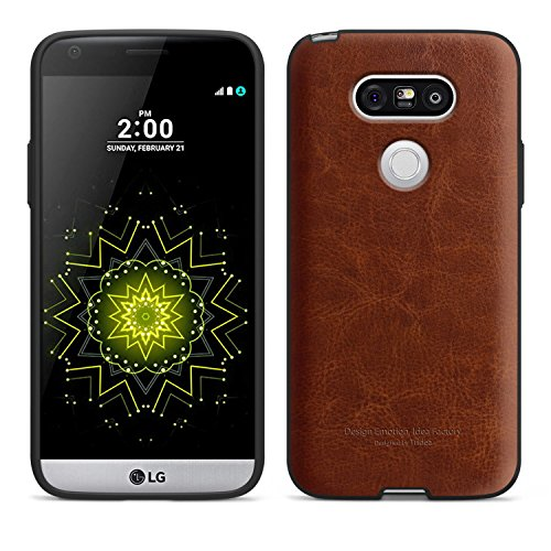 LG G5 Case [Tridea] Power Guard Premium Synthetic Leather Bumper [Shock Absorbent][Scratch-Resistant] Case for LG G5 (2016) [Brown]