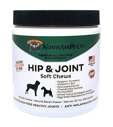 Noahs Ark Pet Life Advanced Hip and Joint Supplement for Dogs, Soft Chews, Arthritis Pain Relief, Anti Inflammatory, Glucosamine Chondroitin MSM, All Natural Organic Turmeric, Bacon Flavor, 90 Ct