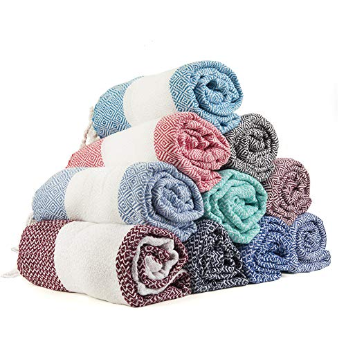Gute Turkish Towels Bath Beach Hammam Towels, Extra Large Hammam Towel Wrap Pareo Fouta Throw Peshtemal Towel SET of 6 100% Natural Turkish Cotton Foua Blanket Set (Assorted) ()