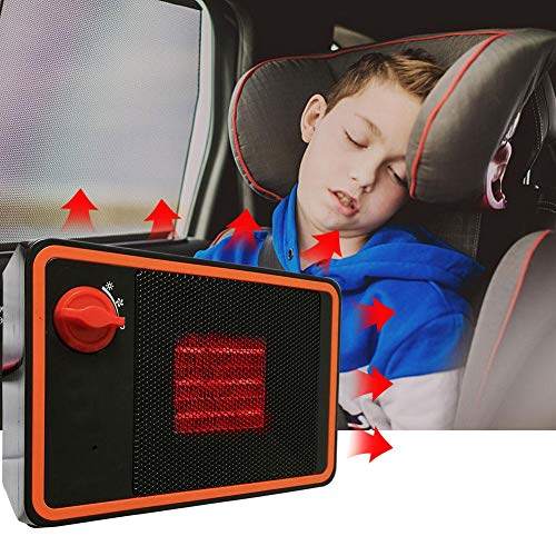 blue--net Portable Car Ceramic Heater Cooling Fan, 24V-350W Auto Fast Heating Defrosts Defogger Windscreen Demister Vehicle Heater Plug in Cigarette Lighter Without Noise