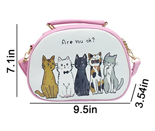 Handbag Cat Printed Bag Women Adjustable Top Satchel Cute Bag Crossbody Pink Handle Detachable Shoulder AqZq50wf