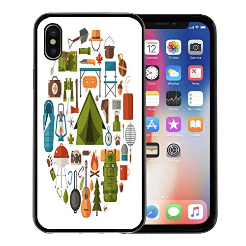 Bowl 10 Rough (Emvency Phone Case for Apple iPhone Xs Case/iPhone X Case,Hiking Camping Equipment Collection Binoculars Bowl Barbecue Tourist Lantern Soft Rubber Border Decorative, Black)