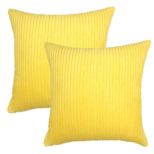 YOUR SMILE Solid Color Decorative Accent Pillow Covers Case Striped Corduroy Plush Velvet Cushion Cover for Couch, Set of 2, Yellow,18x18 inch