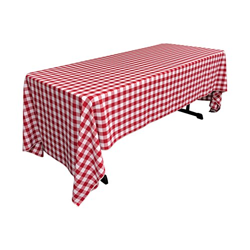 LA Linen Premium Poly Checkered Red and White Tablecloth 60