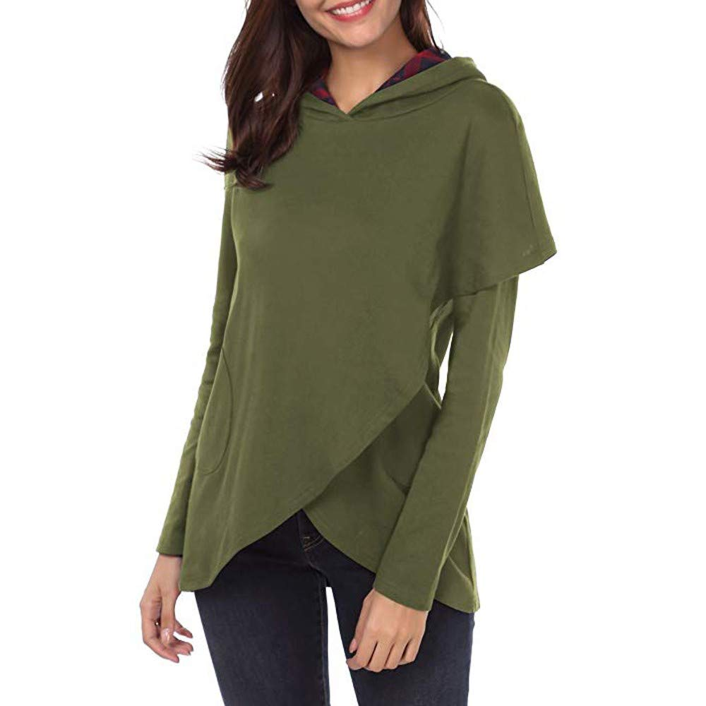 ShenPr Clearance Women's Plaid Hoodies Sweatshirts Long Sleeve Asymmetric Hem Pullovers Tops Blouse