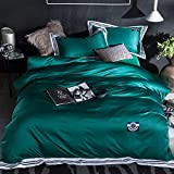 Solid color Ice silk Four set of duvet cover silk Satin 100% cotton 1 quilt cover + 1 bed sheets+ 2 pillow case-dark green King
