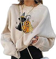 LIUHUAF Women's Print Sweatshirts Pumpkin Print Halloween Skull Long Sleeve Pullover Tops Lightweight Swea