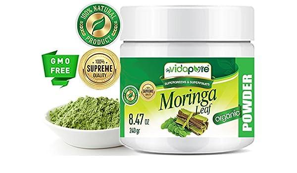 myBIOPURE 100% Pure Organic MORINGA HOJA Moringa oleifera POWDER RAW Sin Gluten Non-GMO. Premium SUPERFOOD VERDE. Para salud, belleza, nutrición deportiva, ...