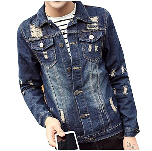Men Jacket Button Down Pocket Trucker Distressed Front Collar Howme Blue Turn AqZadxFz