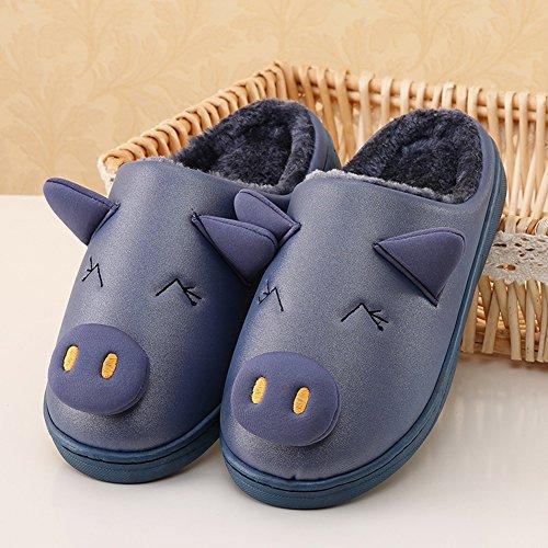 Icegrey Mädchen Jungen Warme Hausschuhe Karikatur Schwein Innen Warm Fleece Haus Hausschuhe Fuzzy Plüsch Schlafzimmer Schuhe Navy Blau 23