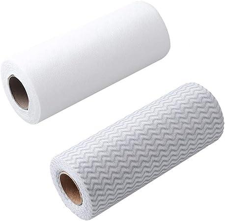 IETONE 2 Rollos Microfibra Paño de Limpieza de Cocina Fuertes Trapos Desechables 48 Recuento/Rollo de Tela Absorbente(Marrón & Blanco): Amazon.es: Hogar