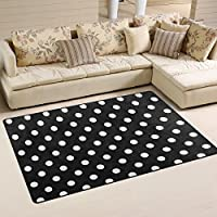 ALAZA Area Rug 26x17  Simple White Polka Dots On Black Background Non-Slip Floor Mat Carpet for Living Dining Bedroom