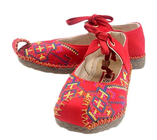 Soojun Women's Cross Stitch Oxfords Sole Aladdin Shoes, US 8, (Aladdin Shoes Womens)