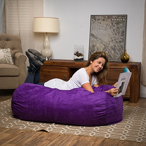 Great Deal Furniture 296771 Cassell Purple Fabric 4-Foot Lounge Beanbag Chair,