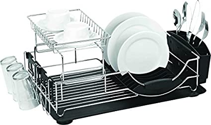 Amazon Com Home Basics Deluxe 2 Tier Dish Rack And Drainer Black