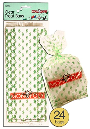 Pack of 24 - Money Party Bags Treat Bags Loot Bags - Monopoly Party Cellophane Cello Bags