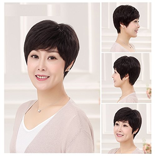 middle-aged real hair wig short black straight hair wig lifelike natural hair short hair in old age Ms