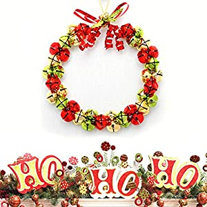 lotus.flower Christmas Wreath, Christmas Wreaths for Front Door,Outdoor Hanger Decorative Garland with Tinkle Bell Bowknot and Small Ornaments, Xmas Wreaths for Front Door, Xmas Wreaths Outdoor 69