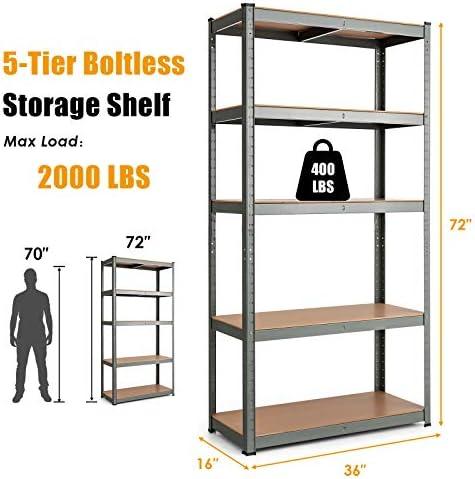 Metal Storage Shelve 5-Tier Large Storage Shelves Heavy Duty Metal Frame Rack Shelving for Garage Bathroom 28L x 12W x 59H Inch Living Room Kitchen Black