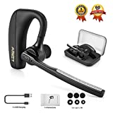 Bluetooth Headset Wireless Headphones, Bluetooth V4.1 Ear Hanging Earpiece with Mic Mute Switch, Handsfree Earphone Business Trucker Driving Compatible for iPhone Android Cellphone ERUW® [Include Portable Storage Case]