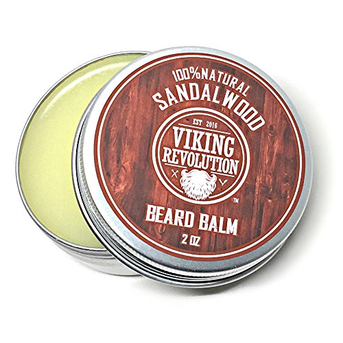 BEST DEAL Beard Balm with Sandalwood Scent and Argan & Jojoba Oils – Styles, Strengthens & Softens Beards & Mustaches – Leave in Conditioner Wax for Men by Viking Revolution