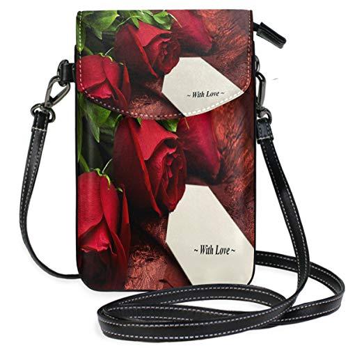 Romantic Love Rose Small Crossbody Bag Cell Phone Pouch Womens Cute Leater Handbag (Lucky Slip Satchel)