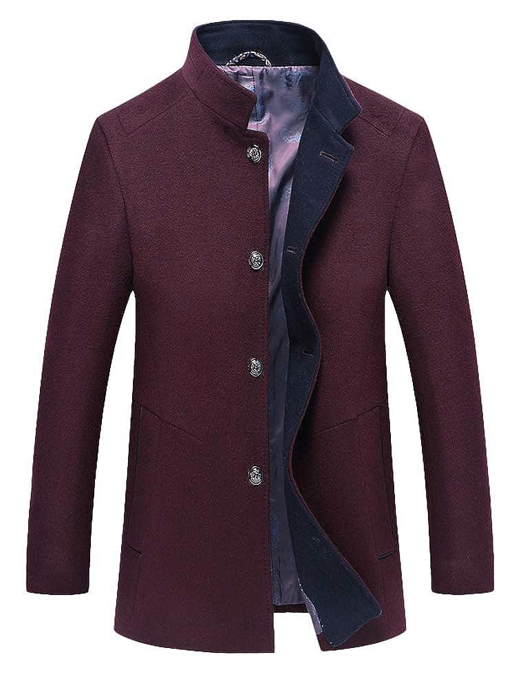 Burgundy Burgundy Burgundy Mordenmiss Men's Wool Trench Coats Winter Warm Business Jacket Overcoat Outwear 5aa093