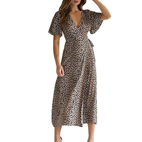 Dresses for Women with Sleeves,YEZIJIN Women Summer Deep V-Neck Leopard Short Sleeve Long Maxi Party Beach Dress -