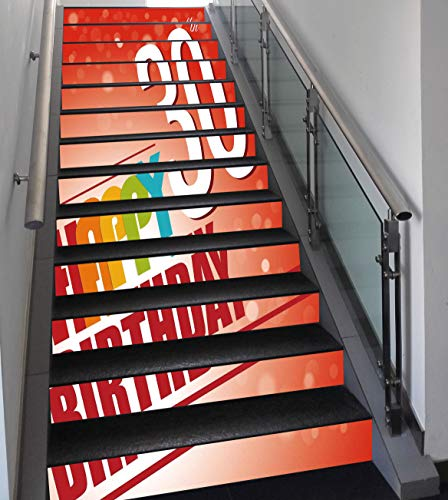 Stair Stickers Wall Stickers,13 PCS Self-adhesive,30th Birthday Decorations,Invitation to Birthday Party in Colorful Retro Style Poster Image,Multicolor,Stair Riser Decal for Living Room, Hall, Kids R -