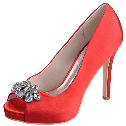 Loslandifen Womens Peep Toe Pumps In Raso Di Strass Incastonato Stiletto Tacco Alto Scarpe Da Sposa Rosso