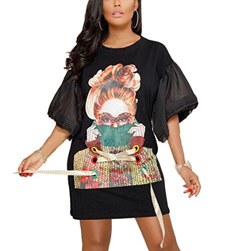 Girls Puff Sleeve Crewneck Tees - Remelon Womens Casual Short Puff Sleeve Girl Print Crisscross Ribbon Loose Tunic T-Shirt Mini Dress Black M