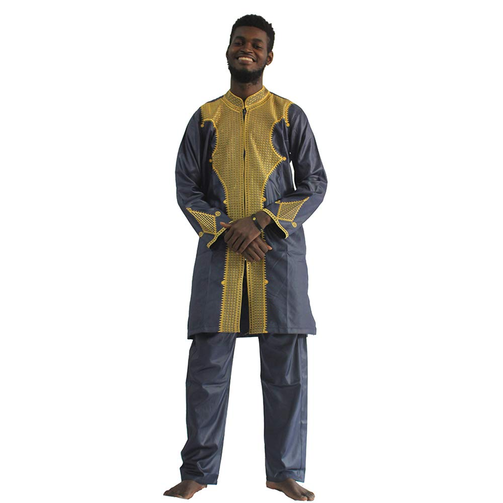 Dashiki African Couple Clothing for Mens & Womens, Traditional Bazin Fabric Maxi Wedding Dress & Shirts,M-Blue 4XL