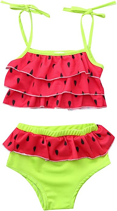 Toddler Baby Girls Summer Clothes Sunsuit Swimsuit for 1-4 Years Old Kids Watermelon Print Layered Beach Set
