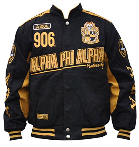 Alpha Phi Alpha Fraternity Mens Racing Twill Jacket Large Black