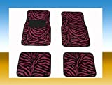 zebra pink car accessories - COUNTRY ONE  4-Pcs For 2-Rows Front & Rear Hot Pink Zebra Car Floor Mats