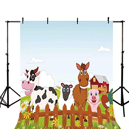 Animal Stylish Backdrop,Cute Farm Creatures with Cow Horse Goat Pig and Chicken by The Fences Kids Cartoon for Photography,118