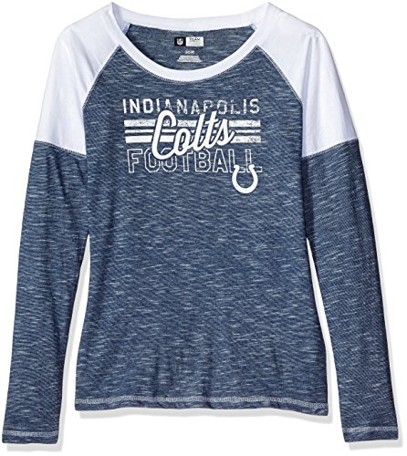 VF LSG NFL Indianapolis Colts Women's Long Sleeve Raglan Open Neck Tee, Medium, Blue Staccato/White/White