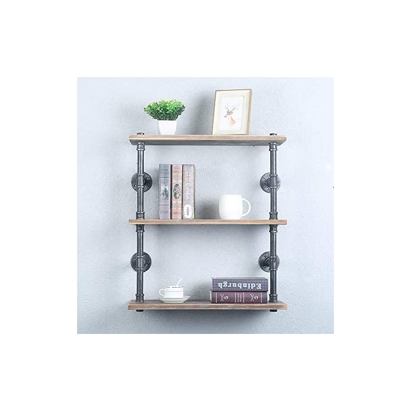Industrial Pipe Shelf Wall Mounted,Steampunk Real Wood Book Shelves,3 Tier Rustic Metal Floating Shelves,Wall Shelving…