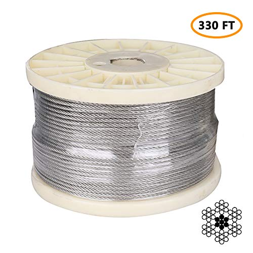 "1/8"" Stainless Steel Aircraft Cable, Marine Grade T316 Stainless Steel Wire Rope, Steel Cable for Deck Railing Stair Railing & DIY Balustrade, 7x7 Braided, 330FT"
