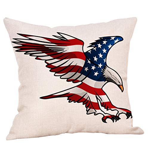 United States Pillow Sham, Favors Looking American National Flag with Party Festival Slogan and USA Artistic Print, Decorative Standard Size Printed 1818 Sofa Cover Mats ()