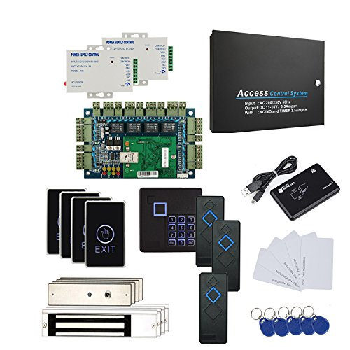 DIY 4 Door Entry Access Control Panel Kits 110V Metal Power Box(Can connect battery) RFID Reader Mag Lock Extra Power Unit Tuch Exit Button RFD Reader/Keychains/Cards by MENGQI-CONTROL