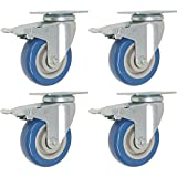 4 Pack Caster Wheels Swivel Plate with Brake On Blue Polyurethane Wheels 880 Lbs (3 inch with brake) by Marketing Eye USA