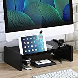 Wood Monitor Stand Riser Storage Organizer for Computer,Printer,iMac,Laptop,Desk with Tablet & Phone Holder,Cable Management Slot,Black